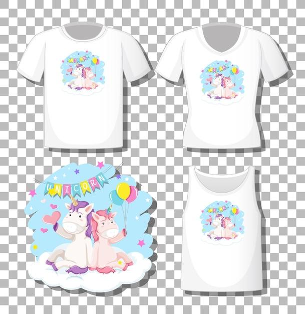 Nettes einhorn sitzen auf der wolkenkarikaturfigur mit satz verschiedener hemden lokalisiert auf transparentem hintergrund Kostenlosen Vektoren