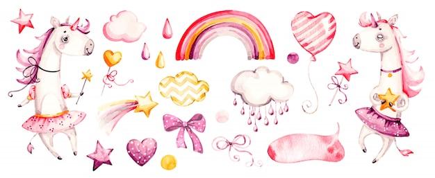 Nettes einhornbaby. aquarell kindergarten cartoon magische tiere, rosa wolken, regenbogen. entzückendes kinderzimmerprinzessinset Premium Vektoren