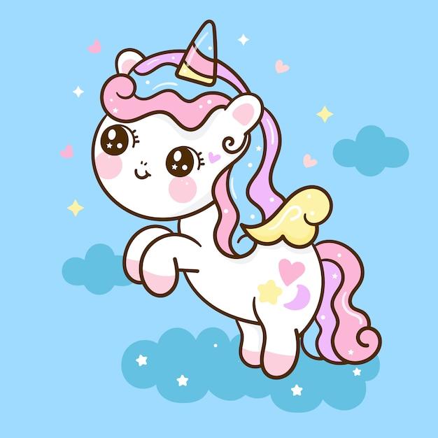 Nettes einhornkarikatur kleines pony springen in die luft. handgezeichnete illustration Premium Vektoren