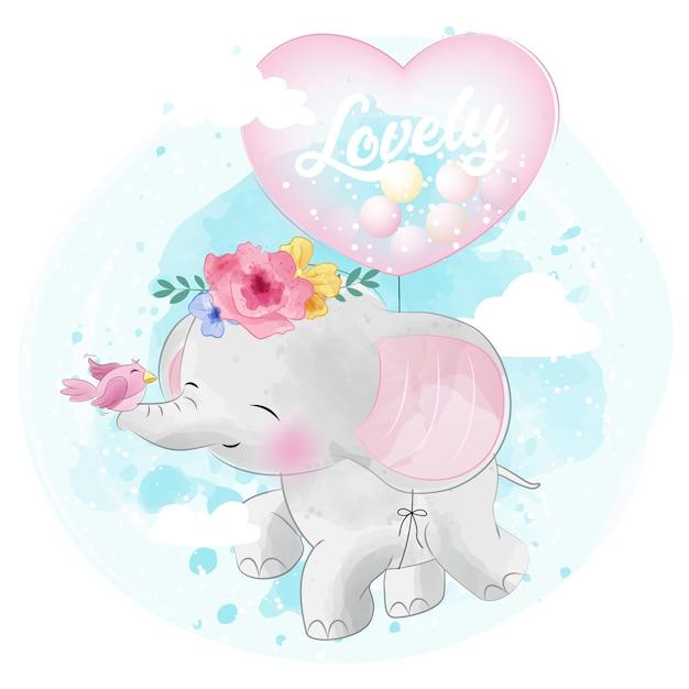 Nettes elefantfliegen mit liebesballon Premium Vektoren