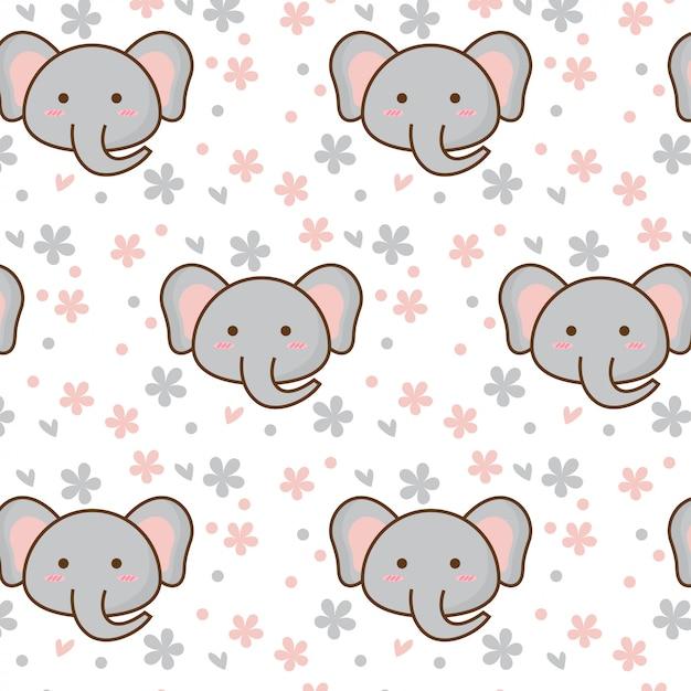 Nettes elefantmuster mit blume Premium Vektoren