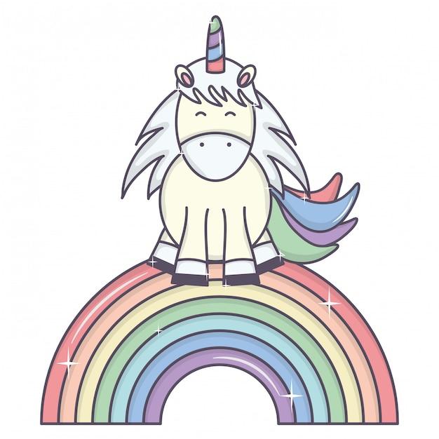 nettes entzückendes einhorn und regenbogen  kostenlose vektor