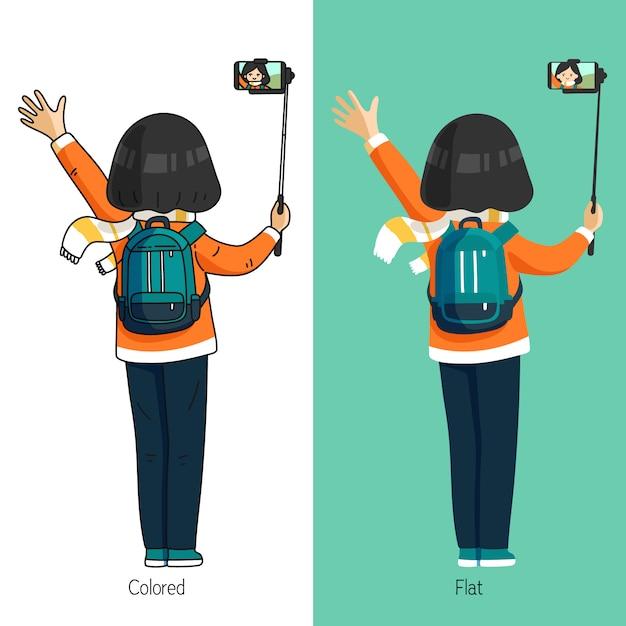 Nettes frauencharakter selfie mit selfie stock Premium Vektoren