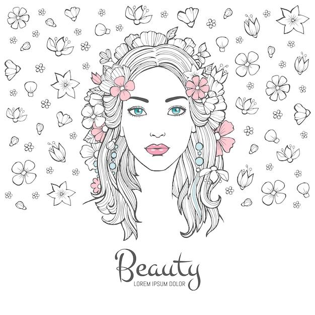 Nettes frauenporträt, junge schönheit der zaubermode blüht im haar und lächelngesichtshintergrund mit platz für ihren text Premium Vektoren