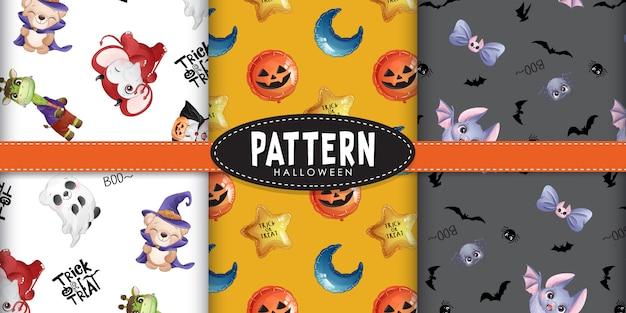 Nettes gekritzel-tiermuster für halloween-tag mit aquarellillustration Premium Vektoren