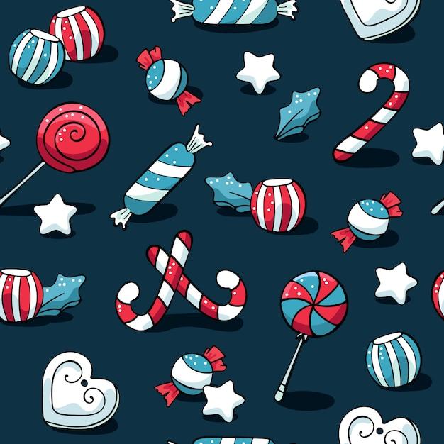 Nettes gekritzel weihnachtselementmuster mit bonbons Premium Vektoren