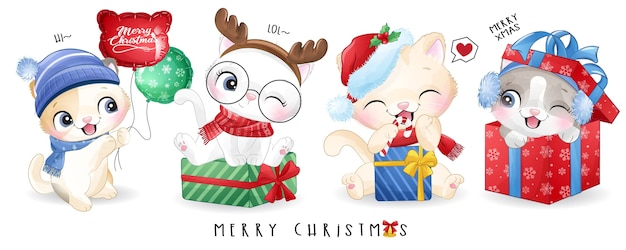 Nettes gekritzelkätzchen für weihnachtstag mit aquarellillustration Premium Vektoren