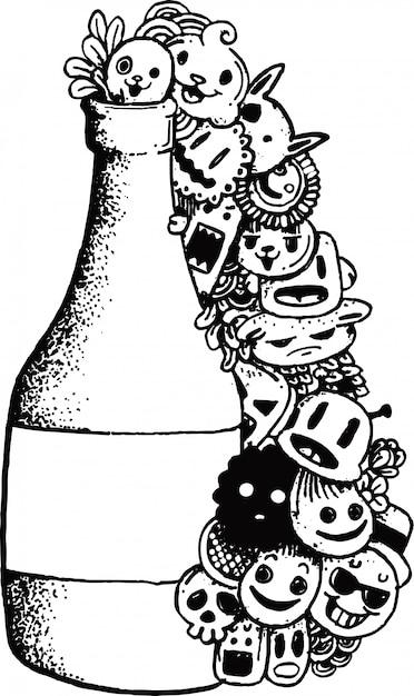 Nettes gekritzelmonster mit flasche Premium Vektoren