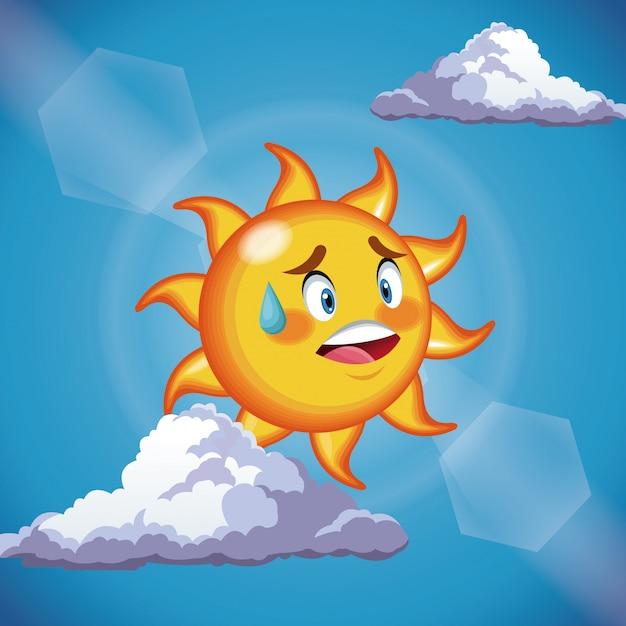 Nettes gesicht der charaktersonne - karikatur im blauen himmel Premium Vektoren