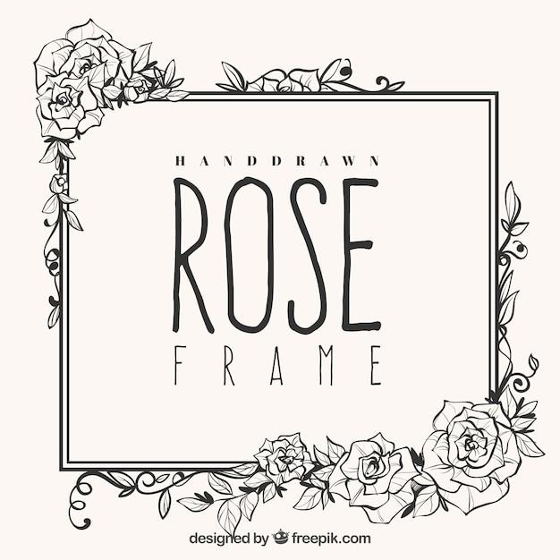 Nettes Gestell aus handgezeichneten Rosen Kostenlose Vektoren