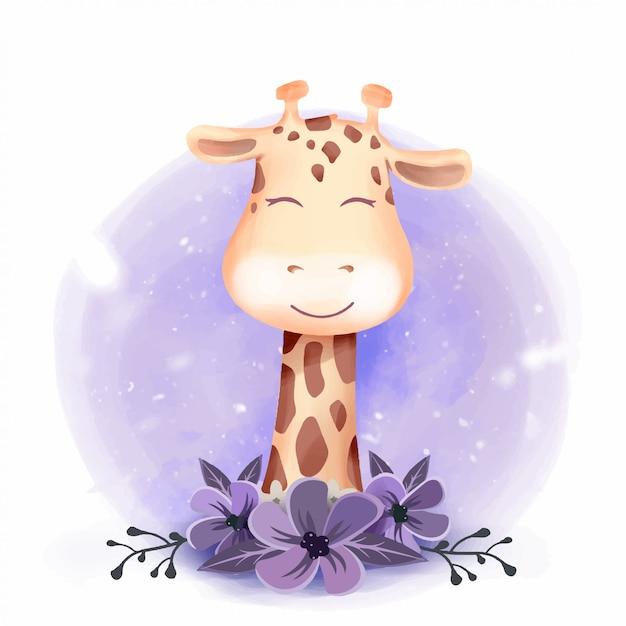 Nettes giraffen-porträt-lächeln mit blumen Premium Vektoren