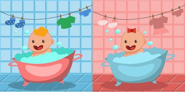 Nettes glückliches babybad. junge und mädchen, die in einer wanne mit schaumblasen baden. Premium Vektoren