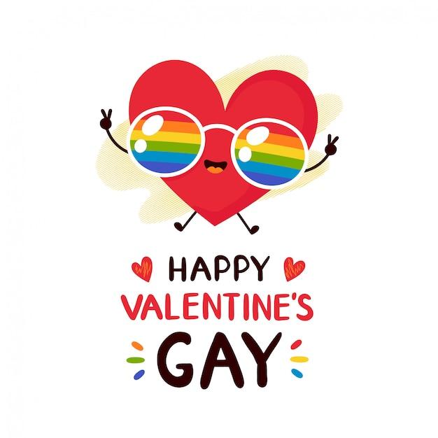 Nettes glückliches lächelndes rotes herz in der grußkarte regenbogen lgbt-gläser valentinsgrußes Premium Vektoren