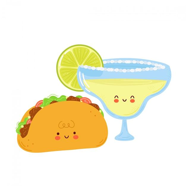 Nettes glückliches margarita-cocktailglas und taco. auf weißem hintergrund isoliert. hand gezeichnete artillustration der zeichentrickfigur Premium Vektoren
