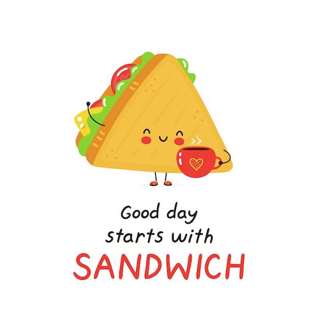 Nettes glückliches sandwich mit kaffeetasse. isoliert auf weiss vektorzeichentrickfilm-figur-illustrationsdesign, einfache flache art. guten tag beginnt mit sandwichkarte. frühstück essen konzept Premium Vektoren