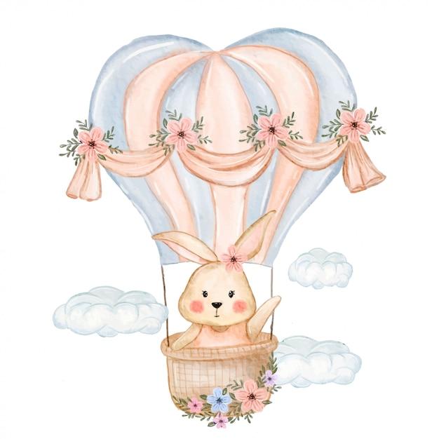 Nettes häschenfliegen mit ballon Premium Vektoren