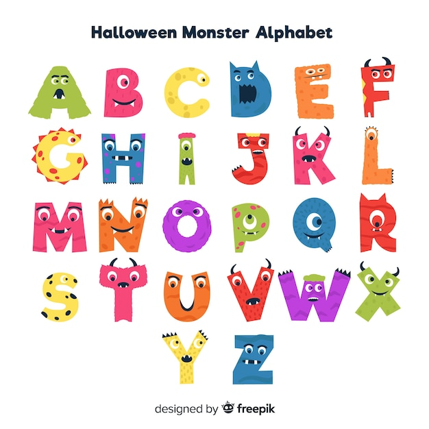 Nettes halloween-monsteralphabet Kostenlosen Vektoren