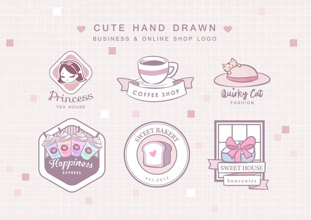 Nettes hand gezeichnetes geschäfts-logo Premium Vektoren