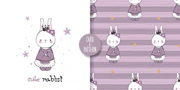 Nettes haustier kaninchen zeichnungen hand gezeichnetes haustier tragen eines retro gemusterten kostüms gesten buntes gesicht lächeln in nahtlosen muster und illustration Premium Vektoren