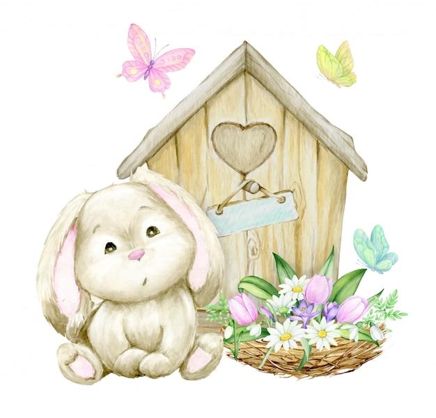 Nettes kaninchen, das auf dem hintergrund eines holzhauses sitzt, nistet mit einem blumenstrauß von blumen und schmetterlingen. aquarellkonzept auf einem frühlingsthema. Premium Vektoren