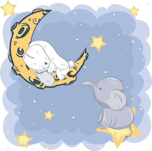 Nettes kaninchen, das auf dem mond schläft, der elefant ist der stern Premium Vektoren