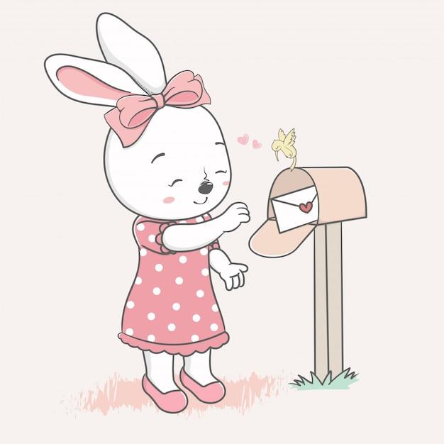 Nettes kaninchenmädchen empfangen eine gezeichnete liebesbriefkarikaturhand Premium Vektoren