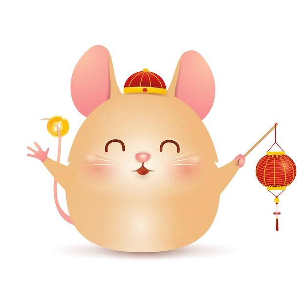 Nettes karikatur little pig charakterdesign mit traditionellem chinesischen roten hut und halten des chinesischen goldbarren lokalisiert auf weißem hintergrund. das jahr des schweins. tierkreis des schweins. Premium Vektoren