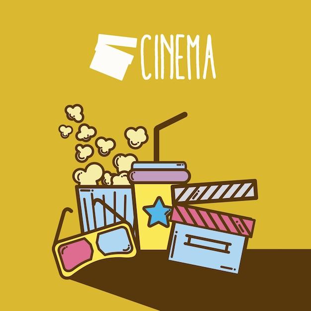 Nettes karikaturkonzept des kinozeichentrickfilm-elementkinos Premium Vektoren