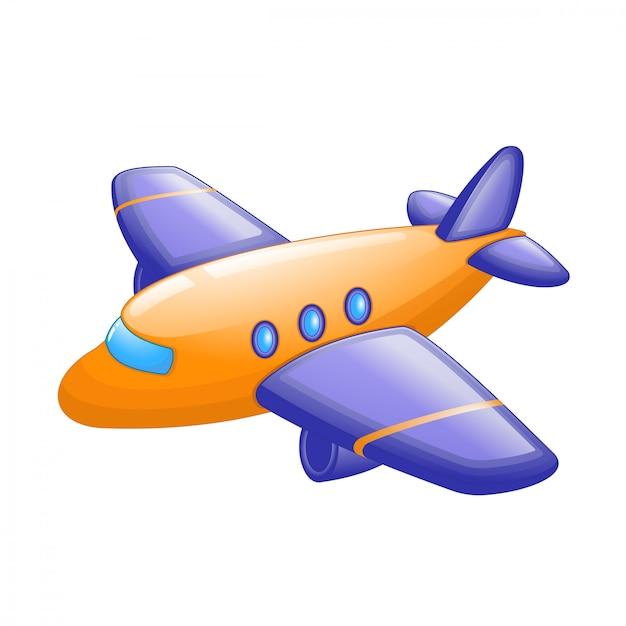 Nettes karikaturpassagierflugzeug Premium Vektoren