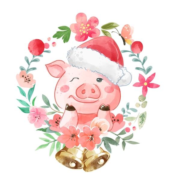Nettes karikaturschwein in weihnachtsmütze und bunte blumenillustration Premium Vektoren