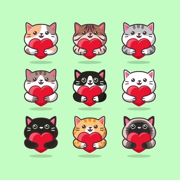 Nettes katzenpflege-emoticon, das ein rotes herz umarmt Premium Vektoren