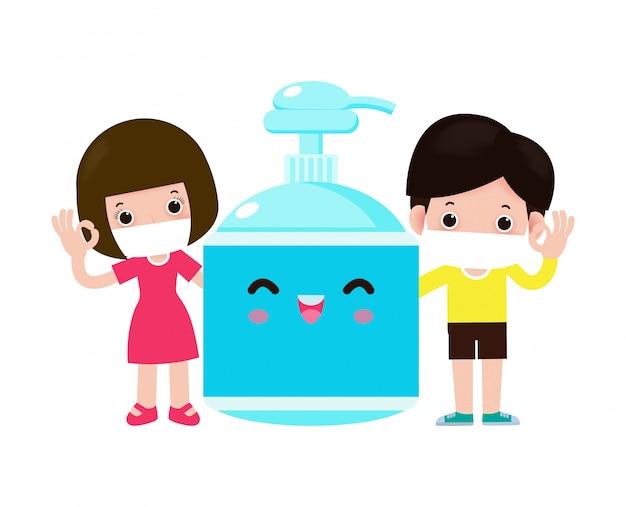 Nettes kind und alkoholgel, kinder und schutz gegen viren und bakterien, gesundes lebensstilkonzept lokalisiert auf weißer hintergrundillustration Premium Vektoren