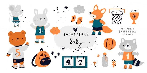 Nettes kindliches set mit tierbabys. basketball-sammlung mit maus, fuchs, hase, waschbär, bär Premium Vektoren