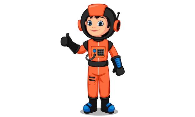 Nettes kleines astronautenkind, das daumen zeigt Premium Vektoren