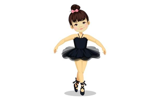 Nettes kleines ballerinamädchen im schwarzen ballettröckchenkleid Premium Vektoren