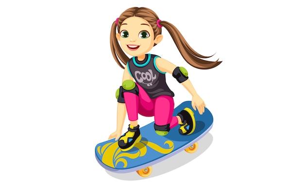 Nettes kleines mädchen auf einem skateboard, das coole tricks macht Kostenlosen Vektoren