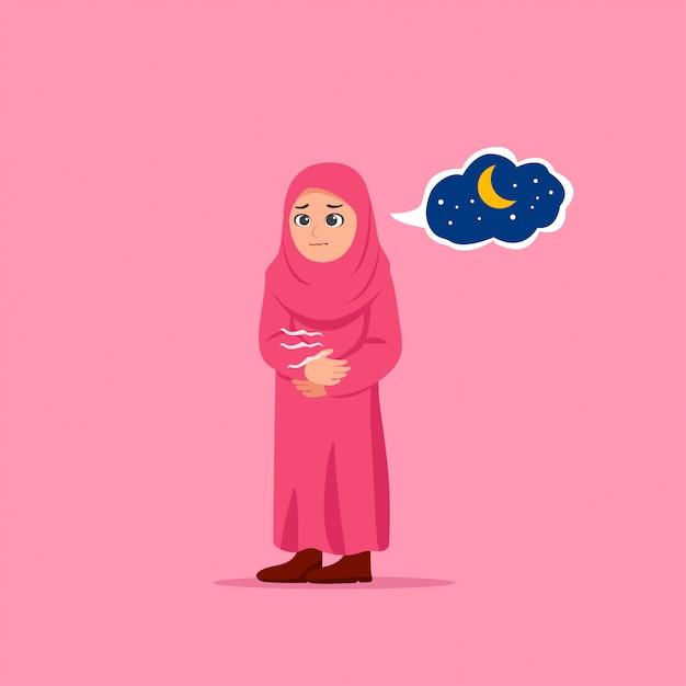 Nettes kleines mädchen hungrige wartende iftar-karikatur-illustration Premium Vektoren