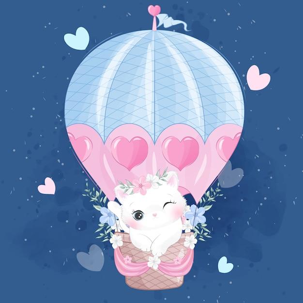 Nettes kleines miezekatzefliegen mit luftballon Premium Vektoren