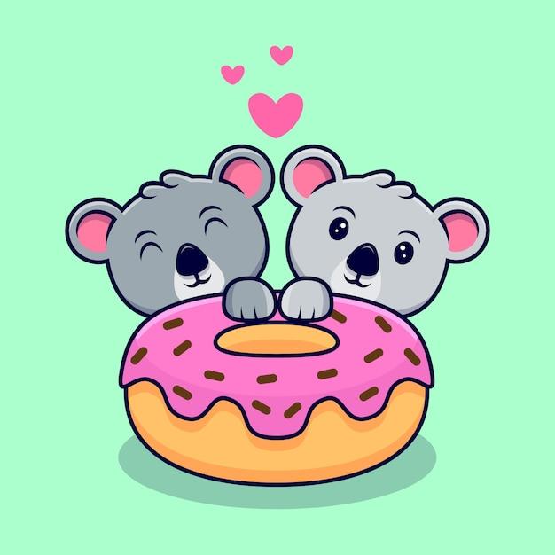 Nettes koala-paar verliebt in donut-maskottchen-karikatur Premium Vektoren