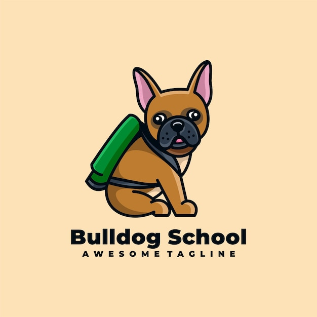 Nettes logo-design der bulldogge-karikatur Premium Vektoren