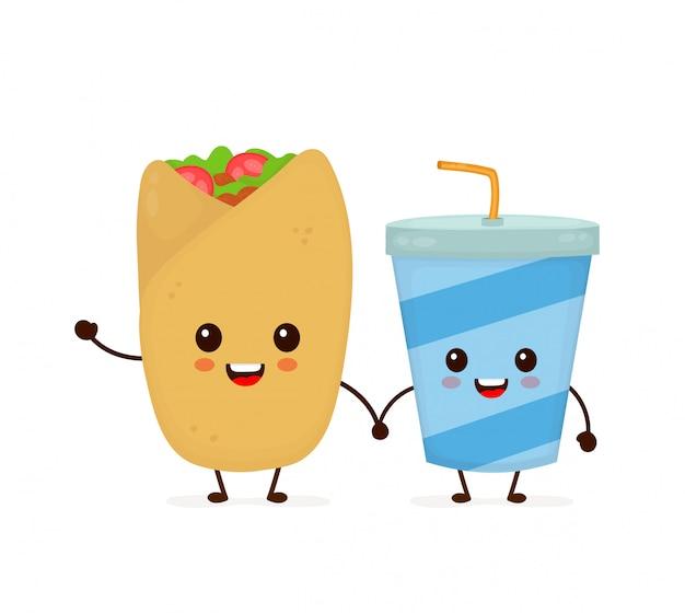 Nettes lustiges lächelndes glückliches buritto und sodawasserschale. flache cartoon charakter abbildung symbol. lokalisiert auf weiß. schnellimbiß, mexikanisches cafémenü, buritto und getränkeschale Premium Vektoren