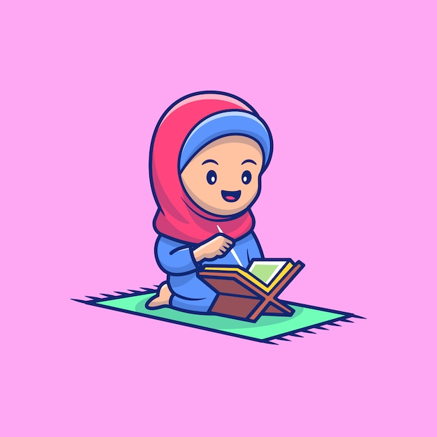 Nettes mädchen, das al qur'an icon illustration liest. ramadan maskottchen zeichentrickfigur. Premium Vektoren