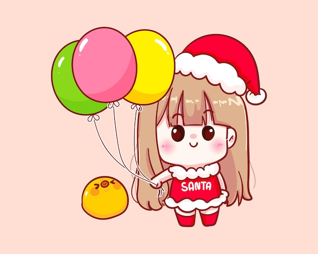 Nettes mädchen im weihnachtsmannkostüm, das ballonillustration hält Premium Vektoren