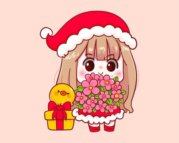 Nettes mädchen im weihnachtsmannkostüm, das blumen hält, um illustration zu gratulieren Premium Vektoren