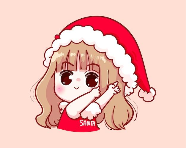 Nettes mädchen im weihnachtsmannkostüm, das illustration zeigt Premium Vektoren
