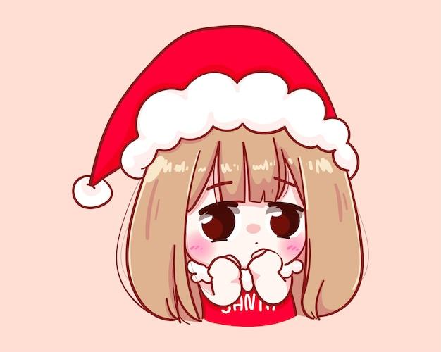 Nettes mädchen im weihnachtsmannkostüm fühlen sie sich peinlich frohe weihnachten illustration Premium Vektoren