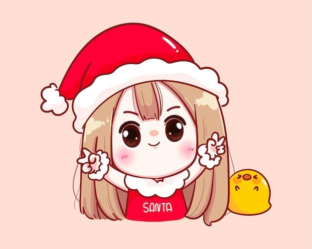 Nettes mädchen im weihnachtsmannkostüm happy frohe weihnachten illustration Premium Vektoren