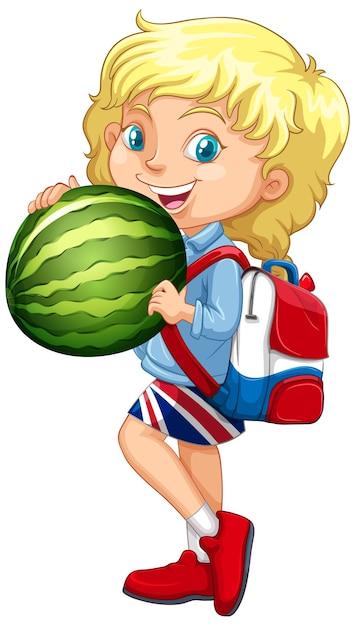 Nettes mädchen mit blondem haar, das eine wassermelone in stehender position hält Kostenlosen Vektoren