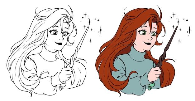 Nettes mädchen mit zauberstab. hand gezeichnete karikaturillustration. Premium Vektoren