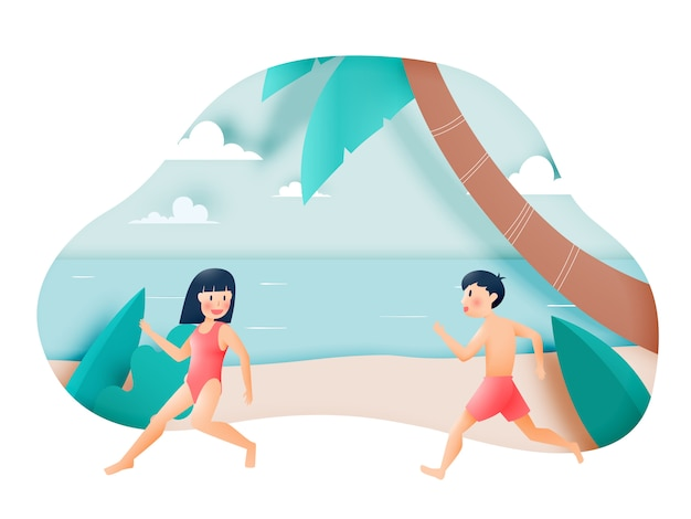 Nettes mädchen und junge mit schöner strandillustration Premium Vektoren